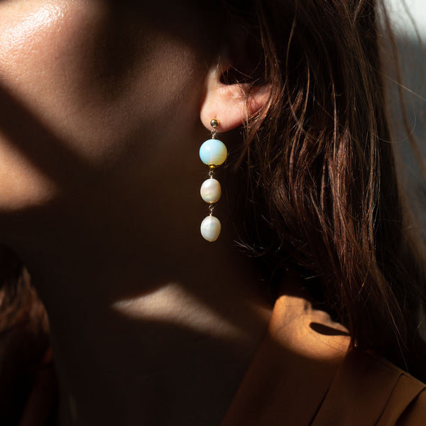 The Gold Mini Sherbet Moon Stud Earrings