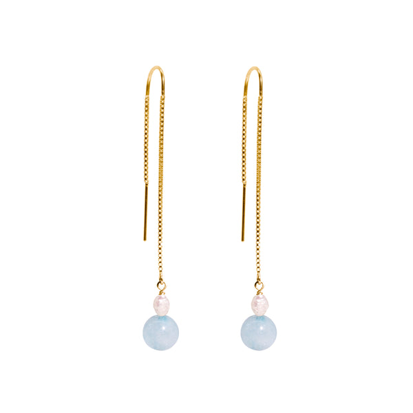 The Gold Blue Jelly Threader Earrings