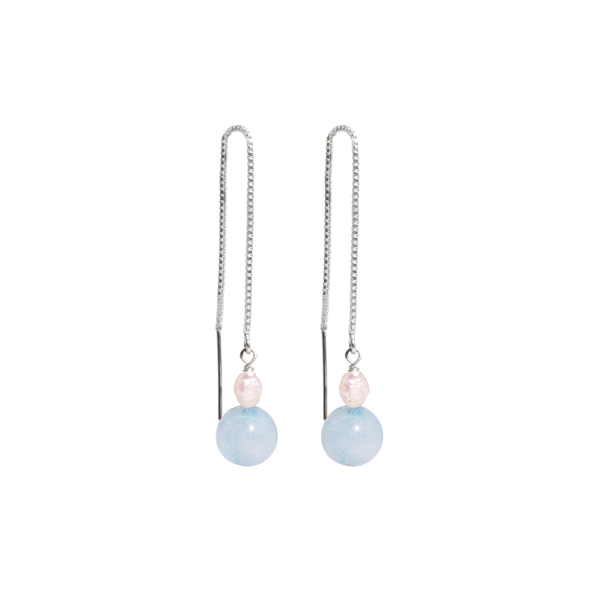 The Silver Mini Blue Jelly Threader Earrings