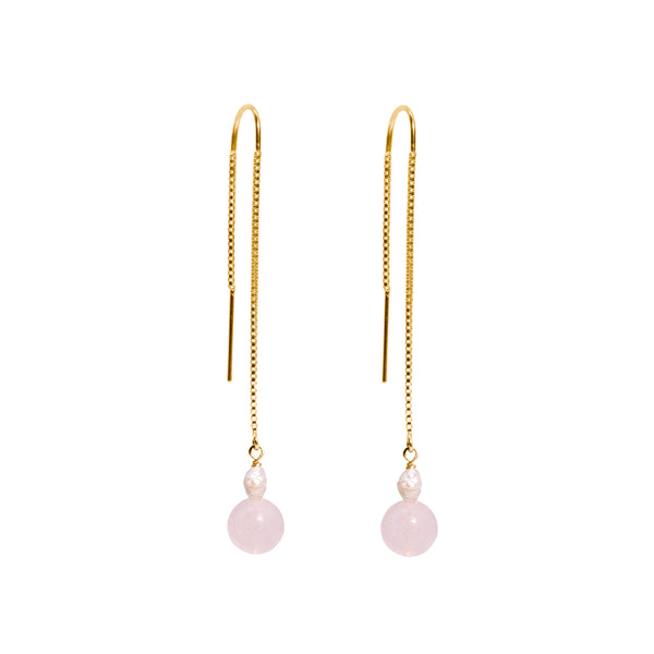 The Gold Pink Jelly Threader Earrings