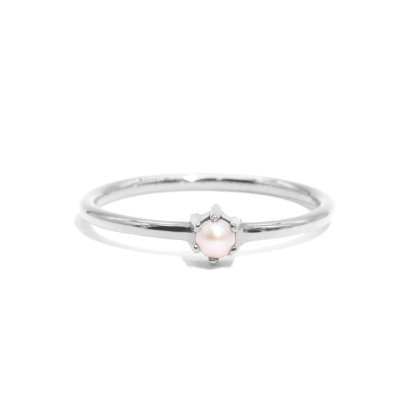 The Silver Petite Pearl Ring