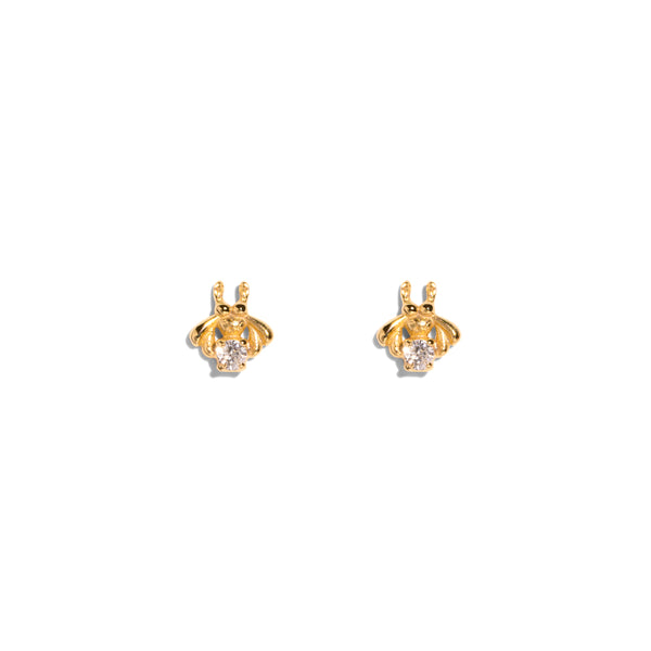 The Gold Diamond Bee Stud Earrings
