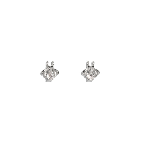The Silver Diamond Bee Stud Earrings