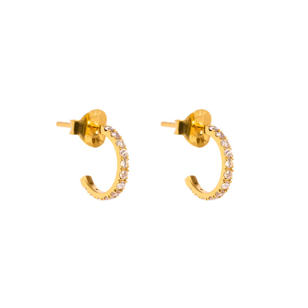 The Gold Diamond Dot Huggie Earrings