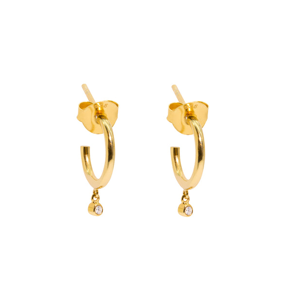 The Gold Diamond Speck Huggie Earrings