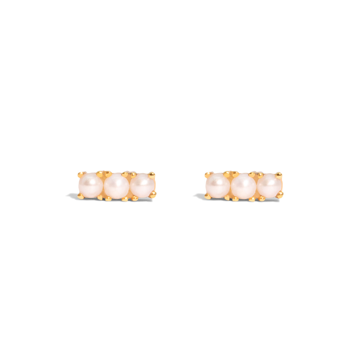 The Gold Pearl Cloud Trio Stud Earrings