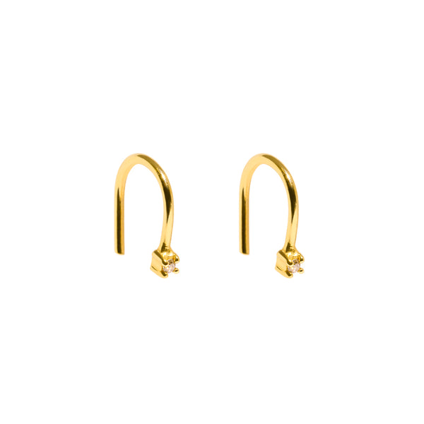 The Gold Diamond Speck Hook Earrings