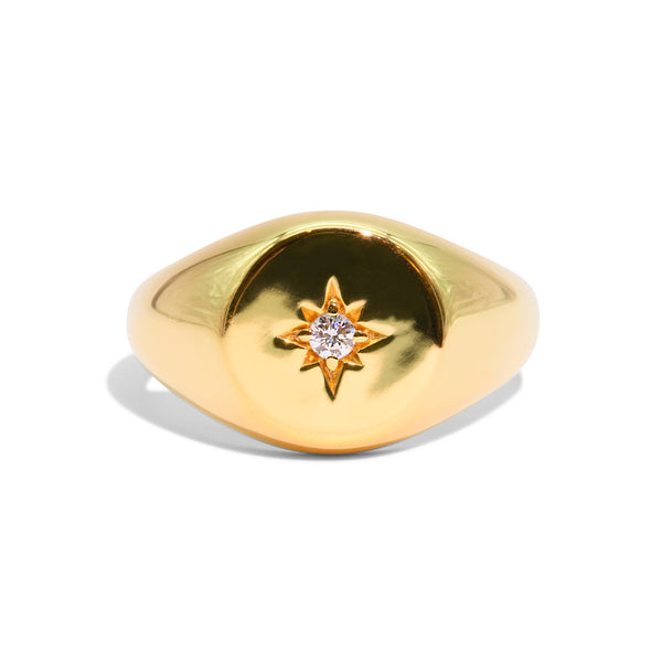 The Gold Diamond Compass Signet Ring