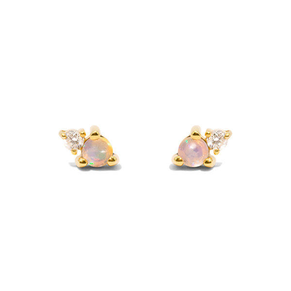 The Gold Opal & Diamond Duo Stud Earrings