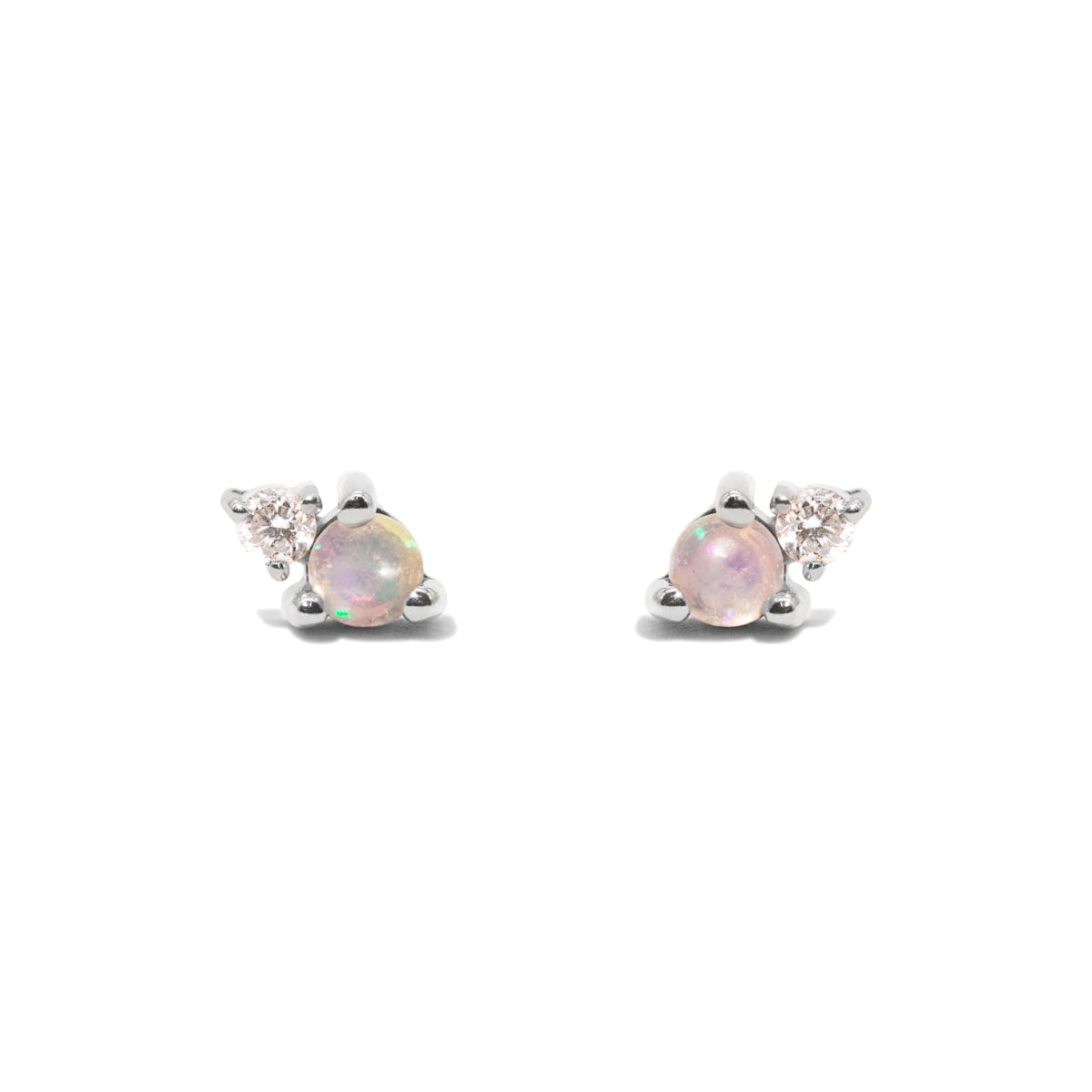 The Silver Opal & Diamond Duo Stud Earrings