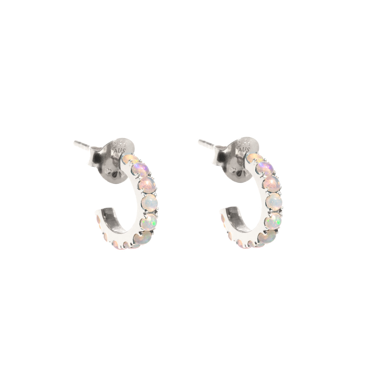 The Silver Opal Droplet Huggie Earrings
