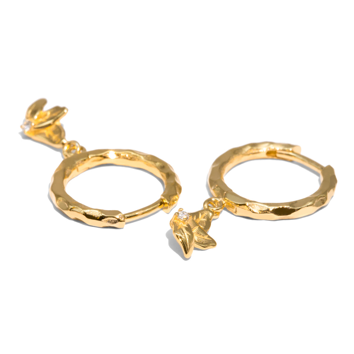 The Gold Diamond Bee Hoop Earrings
