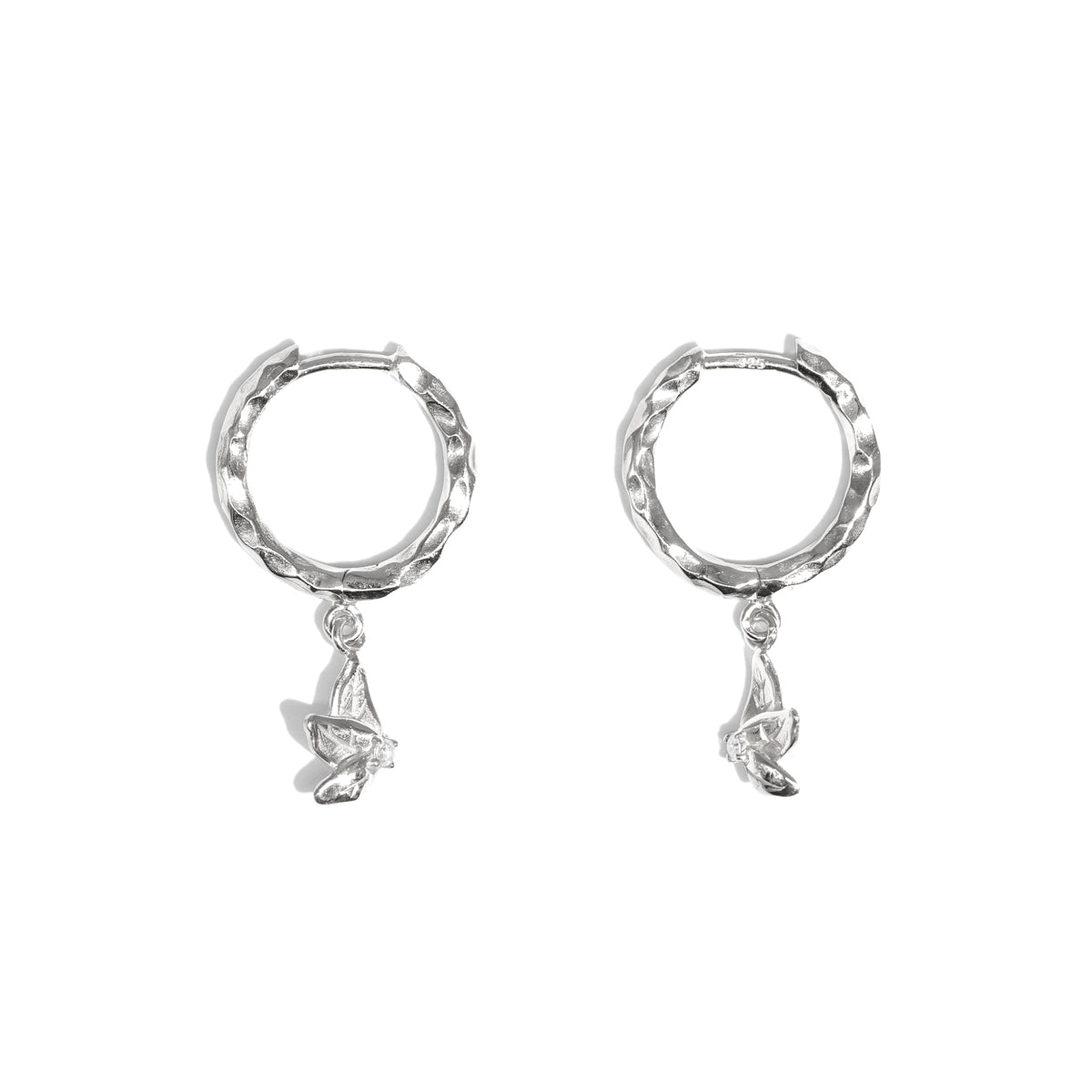 The Silver Diamond Petal Hoop Earrings