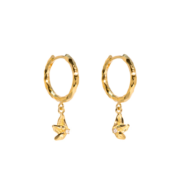 The Gold Diamond Petal Hoop Earrings