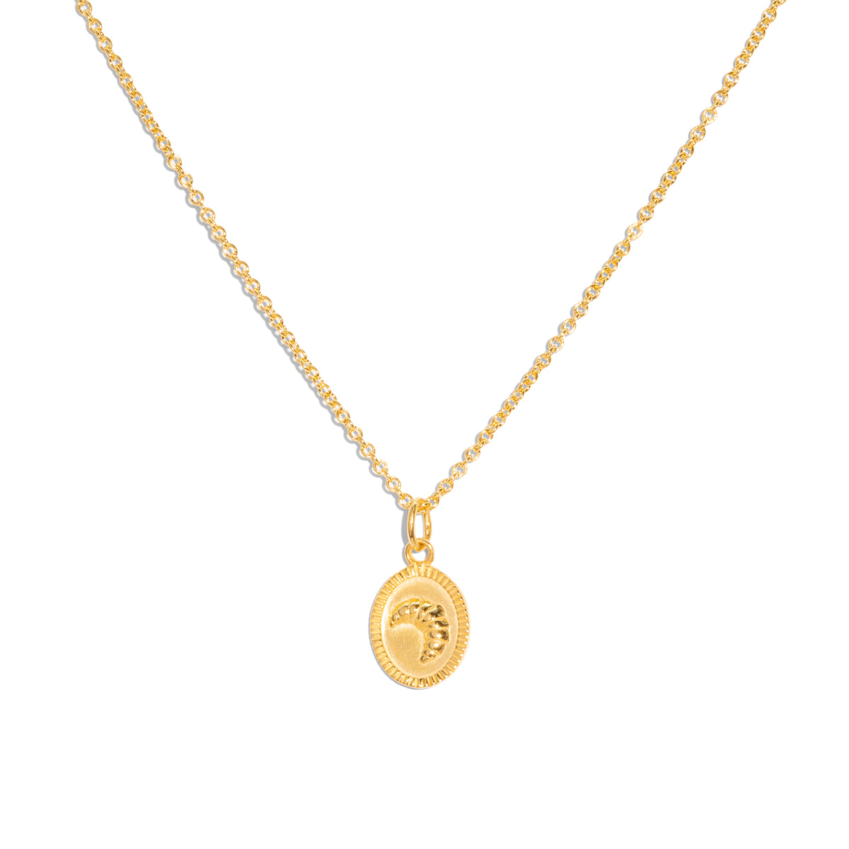 The Gold Croissant Pendant Necklace