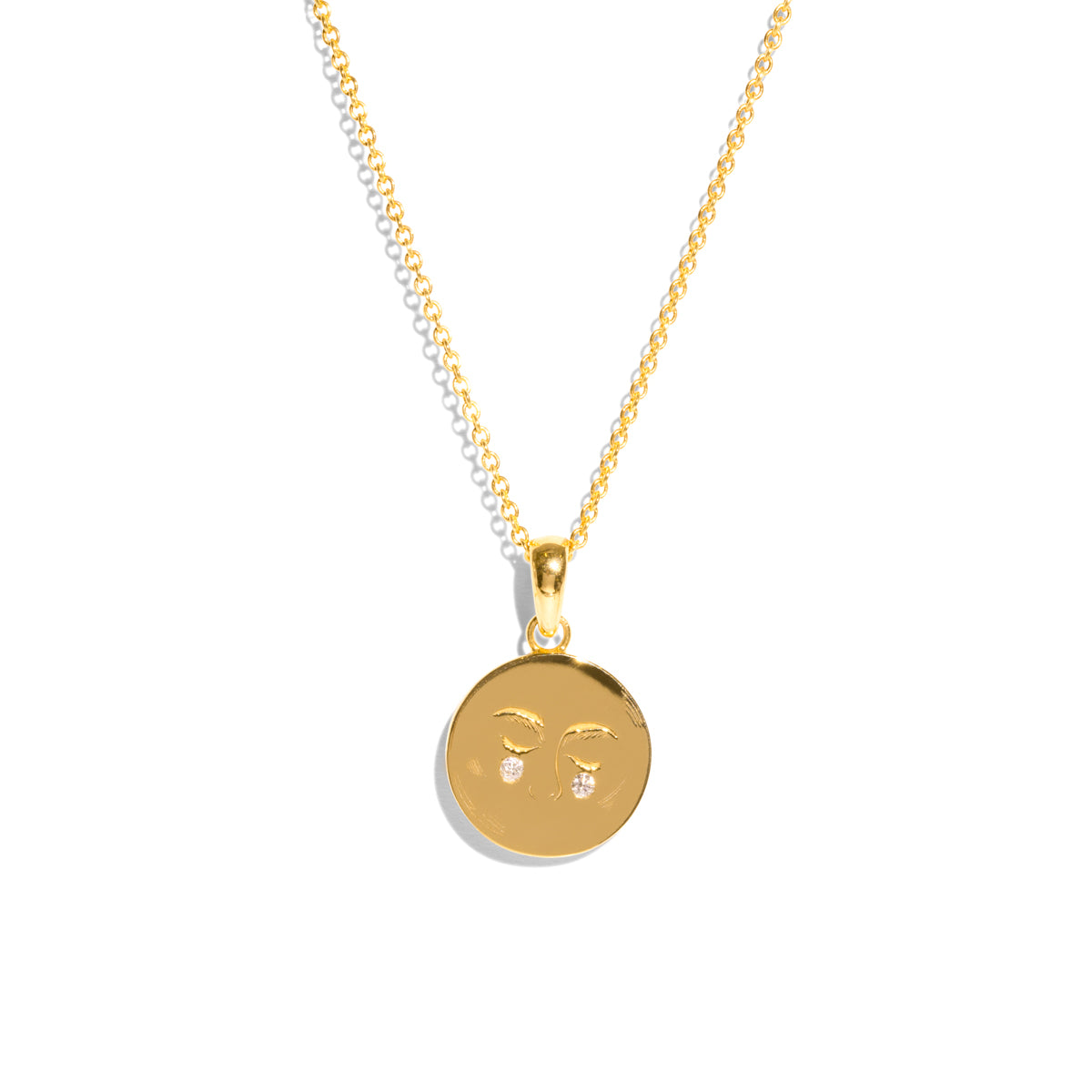 The Gold Diamond Moon Child Pendant Necklace