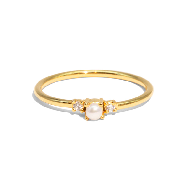 The Gold Diamond & Pearl Trio Ring