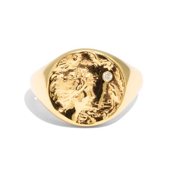 The Gold Diamond Lady Bird Signet Ring