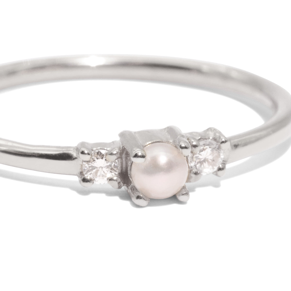 The Silver Diamond & Pearl Trio Ring