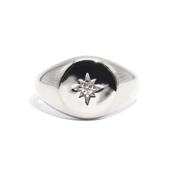 The Silver Diamond Compass Signet Ring