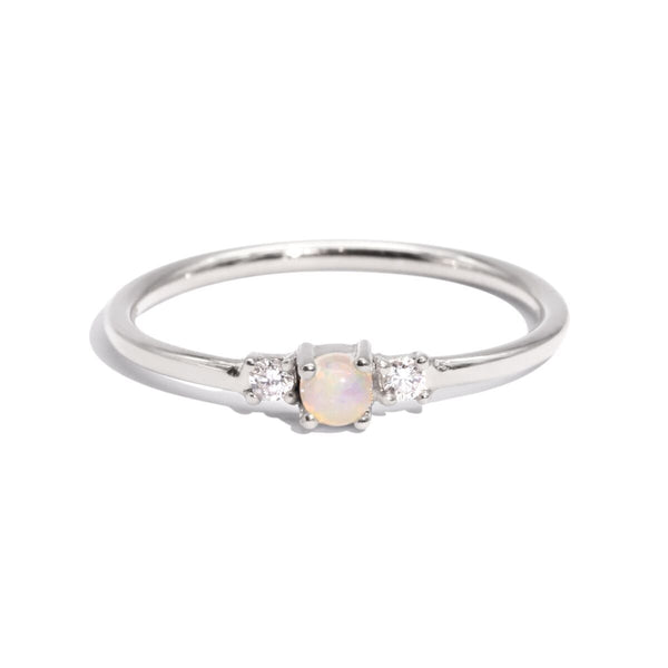 The Silver Diamond & Opal Trio Ring