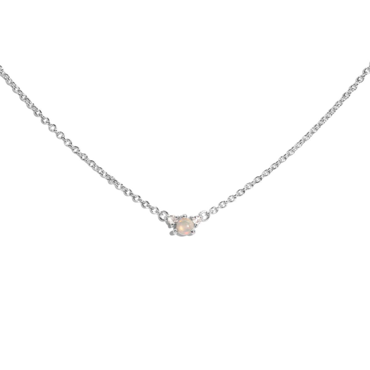 The Silver Opal & Diamond Trio Necklace