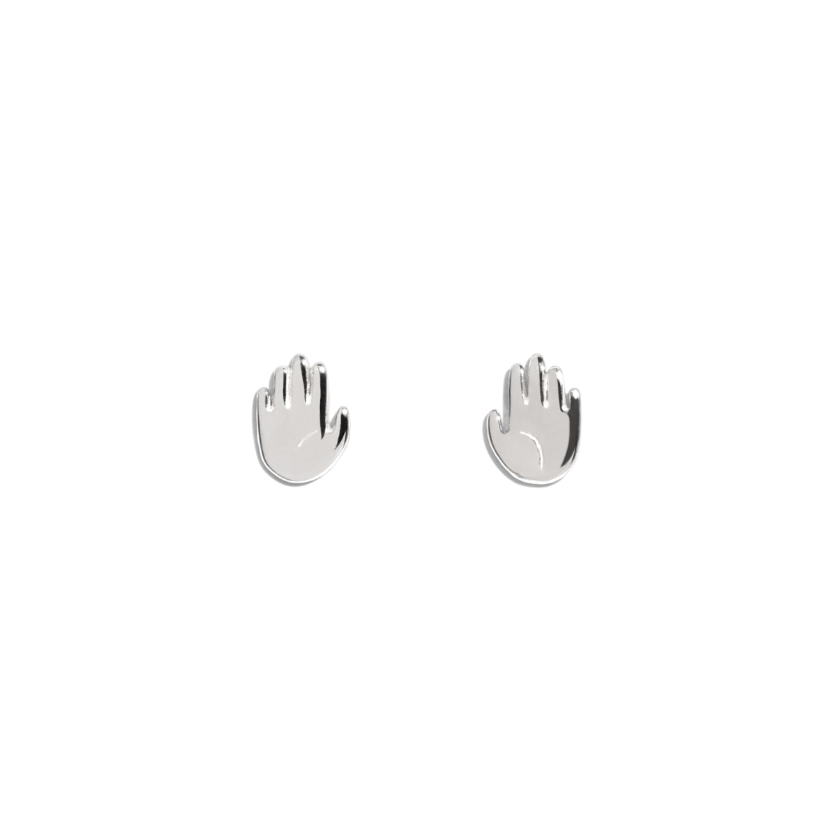The Silver Open Hand Stud Earrings
