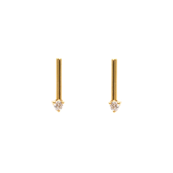 The Gold Diamond Stem Stud Earrings