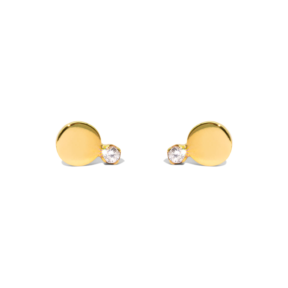 The Gold Diamond Horizon Stud Earrings