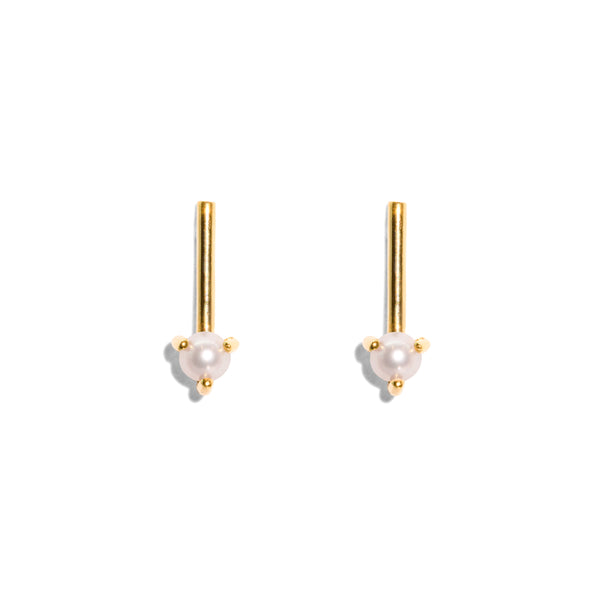 The Gold Pearl Stem Stud Earrings