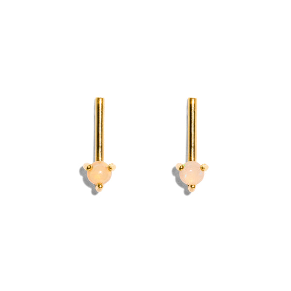 The Gold Opal Stem Stud Earrings