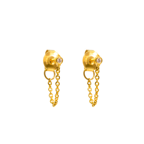 The Gold Diamond Speck Jacket Earrings