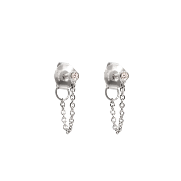 The Silver Diamond Speck Jacket Earrings