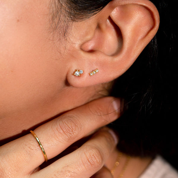 The Gold Diamond and Pearl Duo Stud Earrings