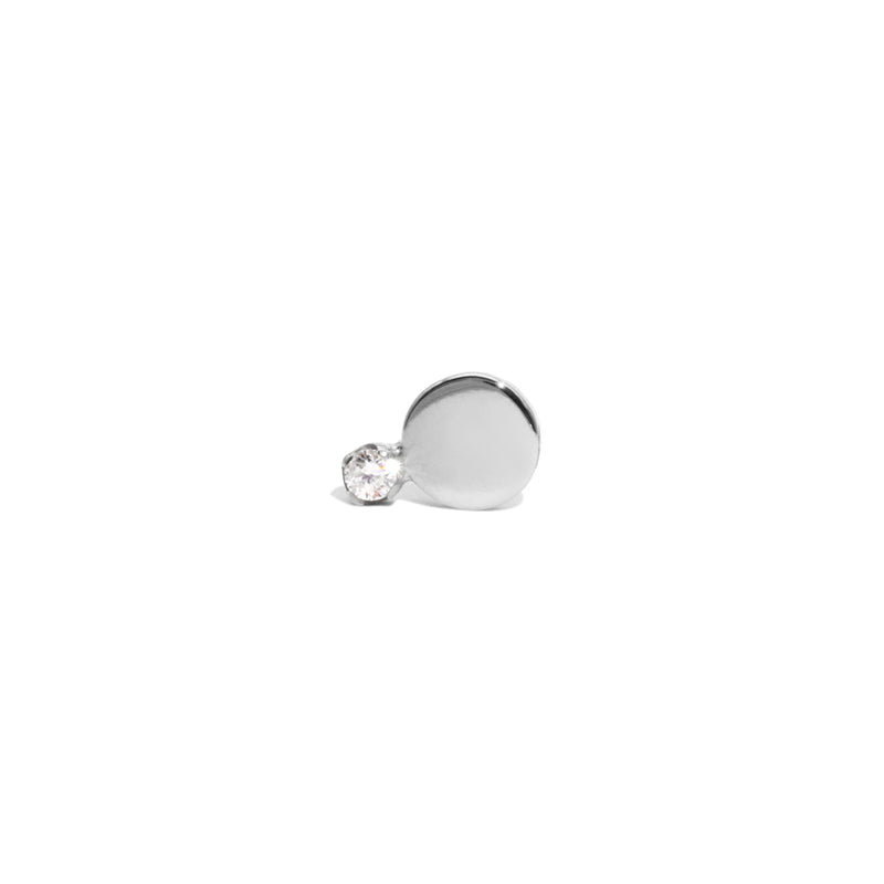 The Single Silver Diamond Horizon Stud Earring