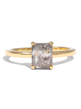 The Cara Solitaire Salt & Pepper Diamond Ring 18ct Yellow Gold