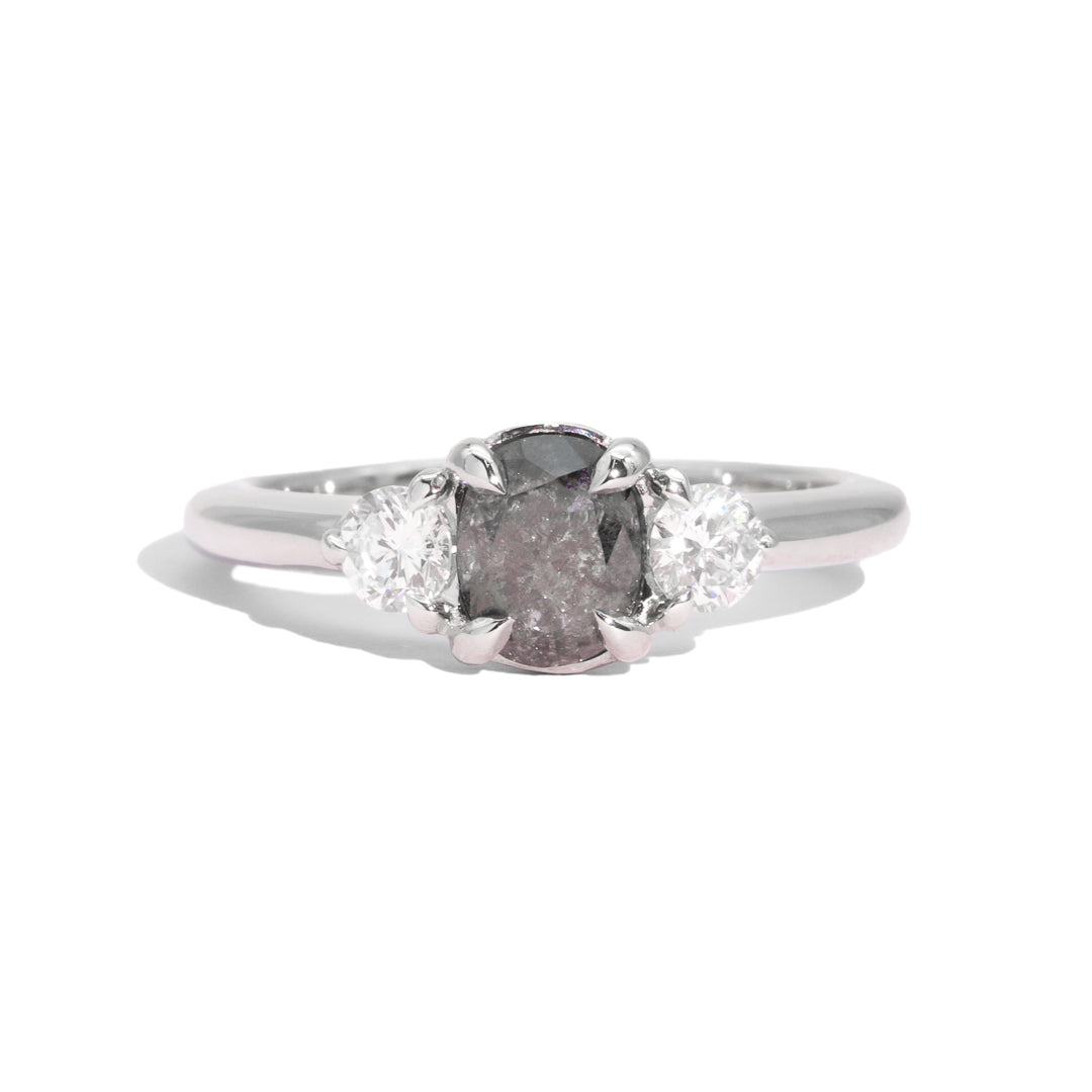 The Ferne Three Stone Salt & Pepper Diamond Ring