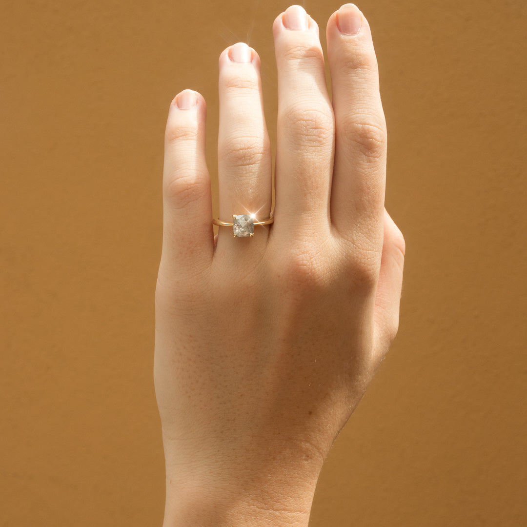 The Lyra Solitaire Salt & Pepper Diamond Ring