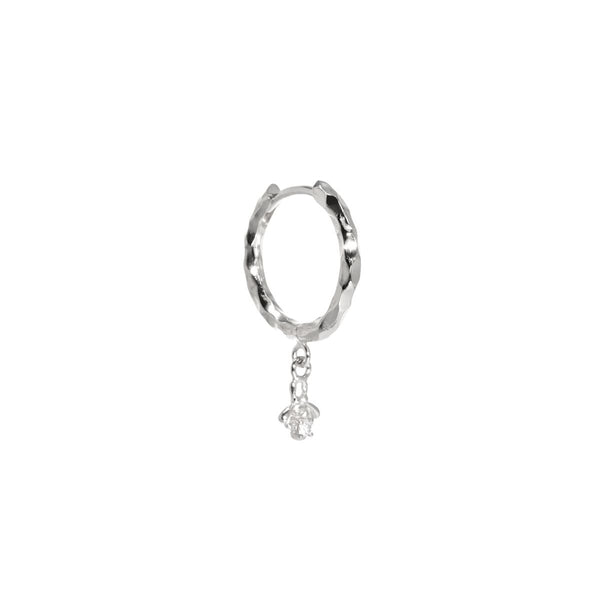 The Single Silver Diamond Bee Hoop Earring