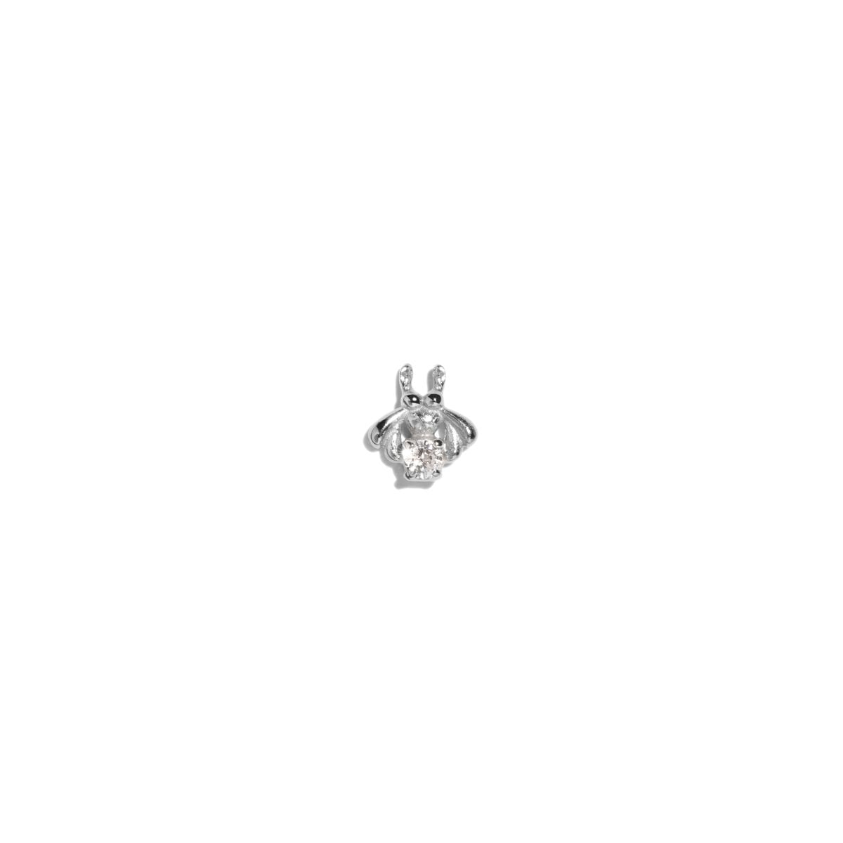 The Single Silver Diamond Bee Stud Earring
