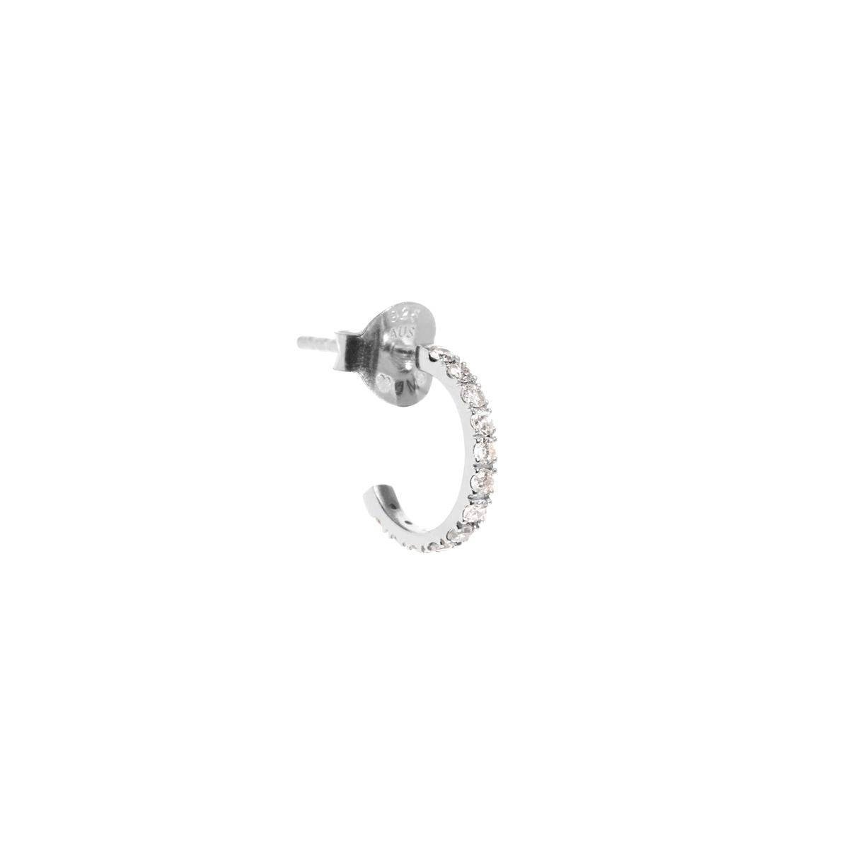 The Single Silver White Sapphire Huggie Earring