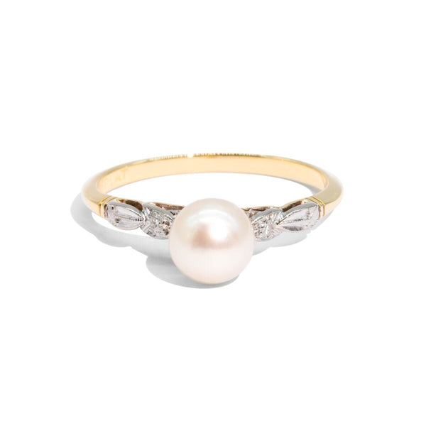 The Irene Vintage Pearl & Diamond Ring