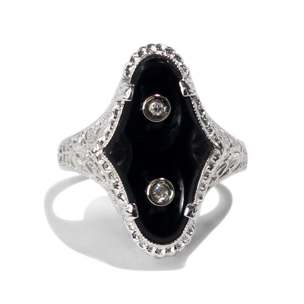 The Maude Vintage Onyx & Diamond Ring
