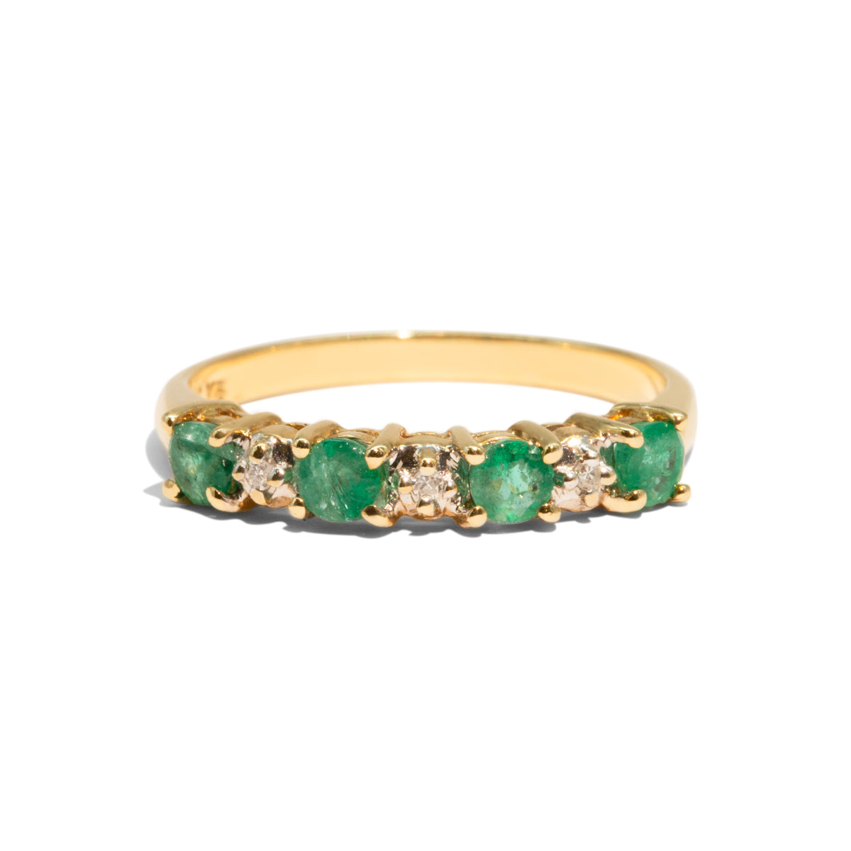 The Emily Vintage Emerald & Diamond Ring