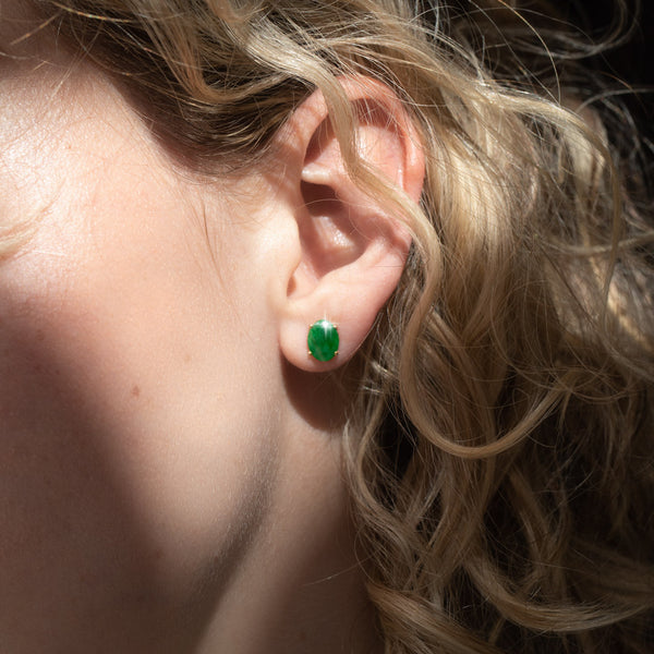The Maude Vintage Jade Stud Earrings
