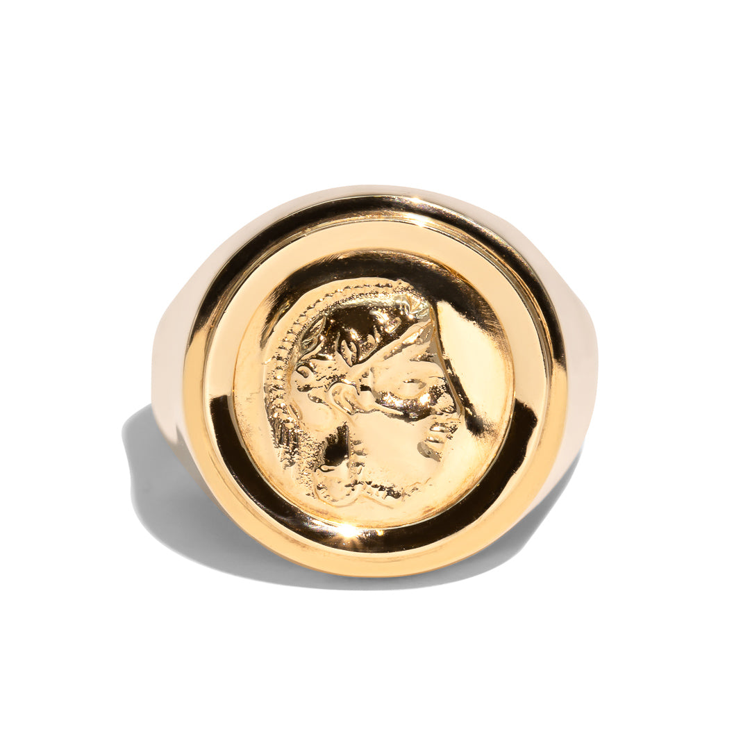 The Athena Vintage Coin Signet Ring