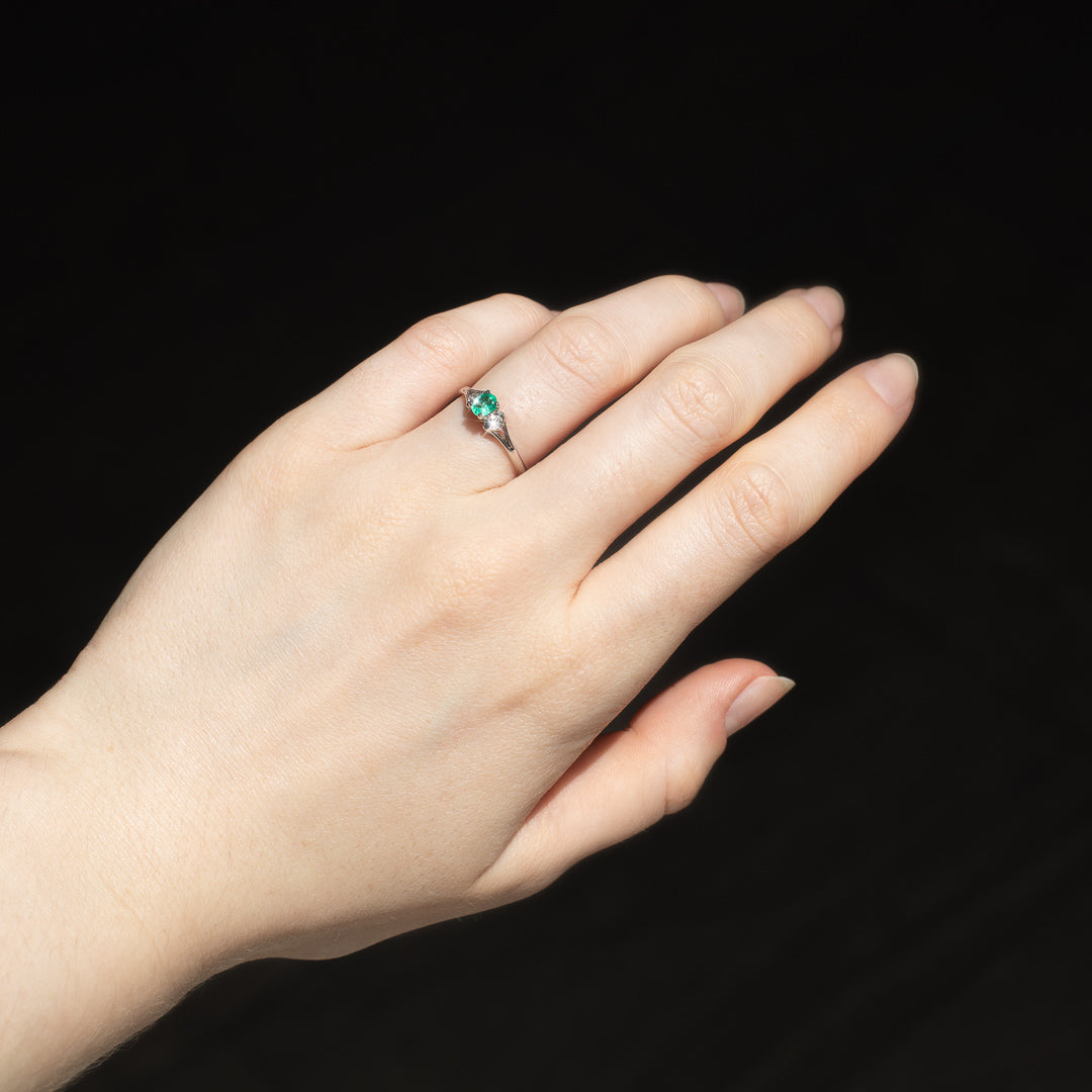 The Jane Vintage Emerald & Diamond Ring