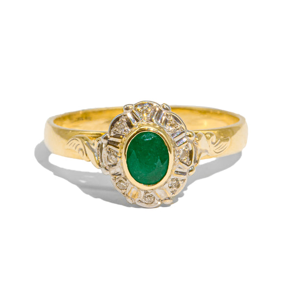 The Kate Vintage Emerald & Diamond Ring