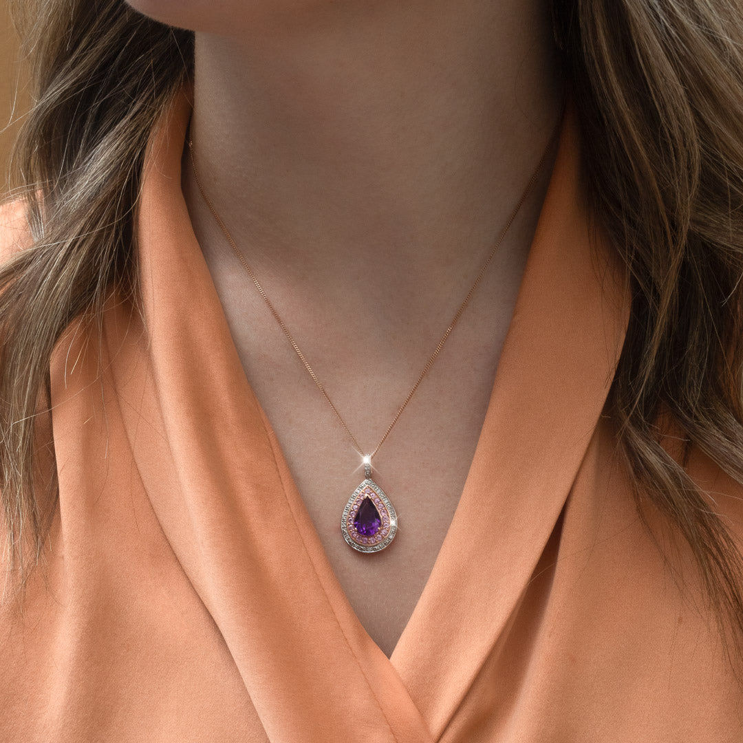 The Annie Vintage Amethyst, Pink Sapphire & Diamond Necklace