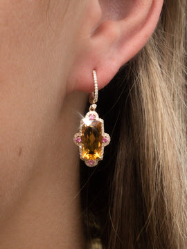 The Ellen Vintage Citrine, Sapphire & Diamond Earrings